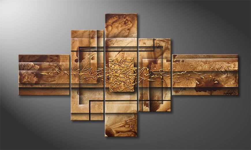Das moderne Wandbild Golden Window 130x75x2cm