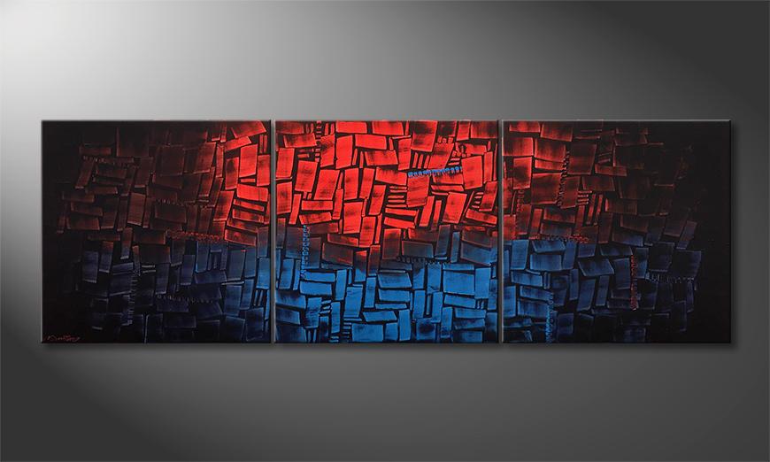 Das moderne Wandbild Heated Blue 210x70x2cm