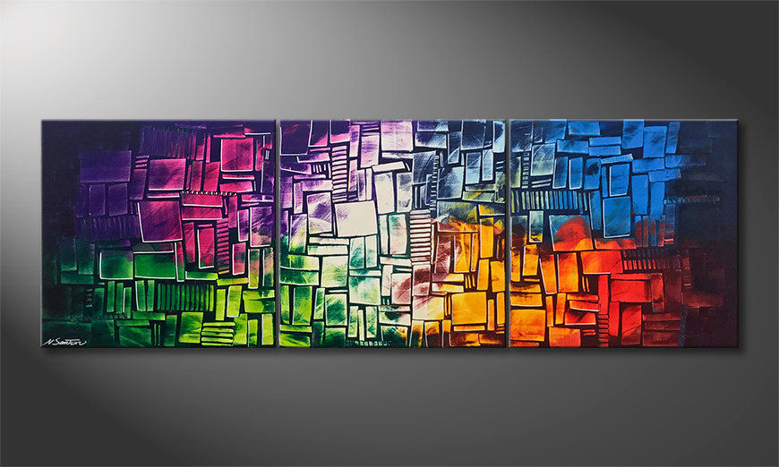 Das moderne Wandbild Invasion Of Colors 210x70x2cm