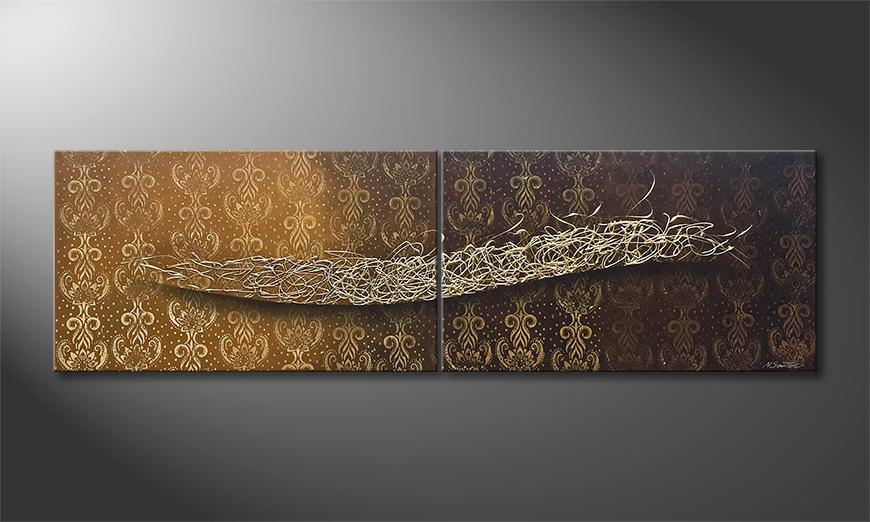 Das moderne Wandbild Silent Silver 200x60x2cm