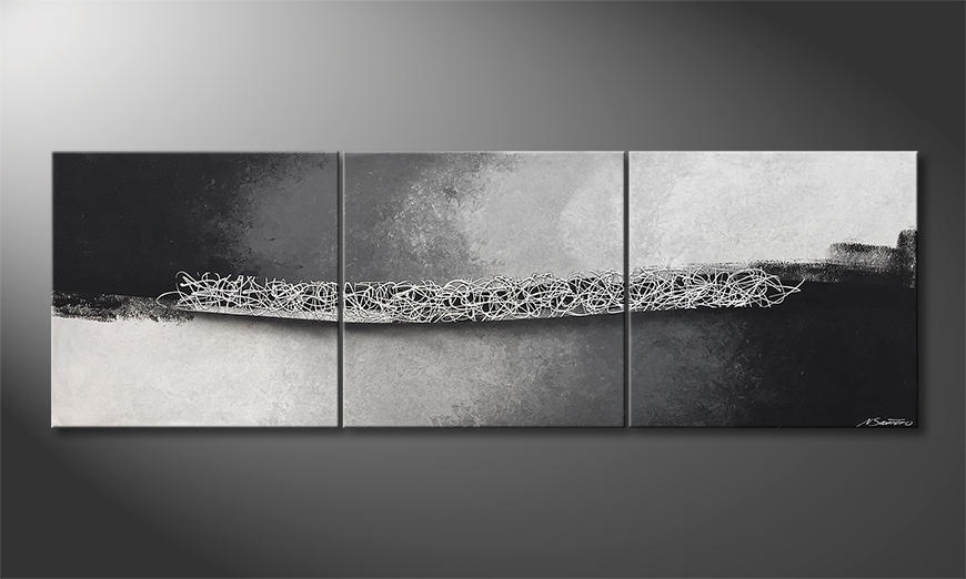 Das moderne Wandbild Silver Curls 210x70x2cm