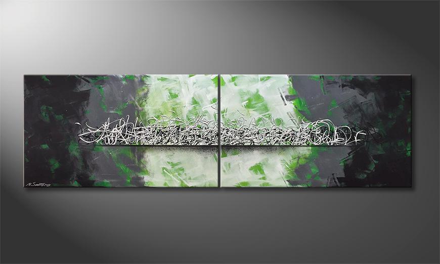 Das moderne Wandbild Silver Infinity 200x60x2cm