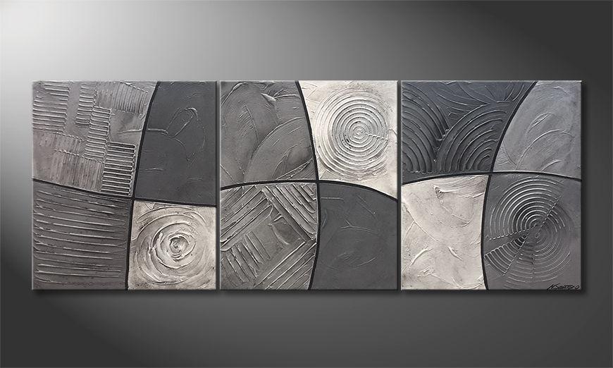 Das moderne Wandbild Silver Strike 180x70x2cm