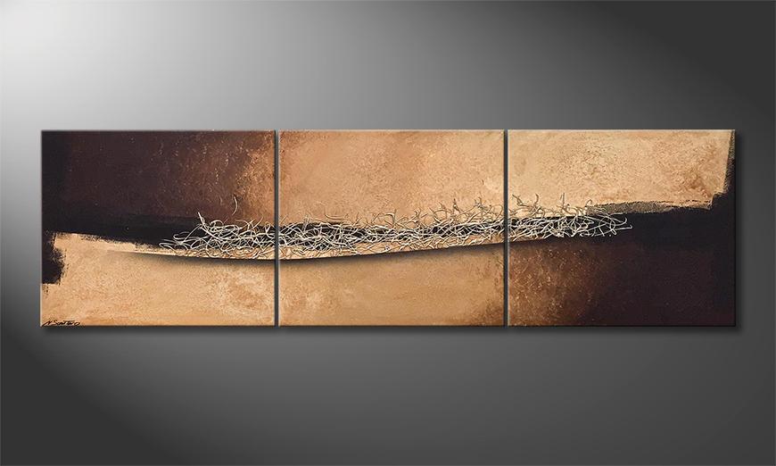 Das moderne Wandbild Silver Vibrations 240x70x2cm
