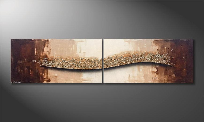 Das moderne Wandbild Silver Whisper 240x60x2cm