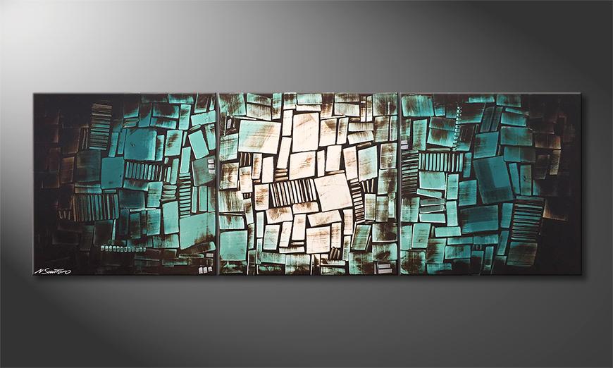 Das moderne Wandbild Turquoise Moon 210x70x2cm