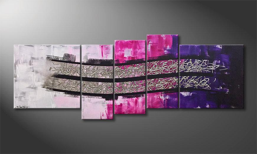 Das moderne Wandbild Waves Of Silver 210x80x2cm