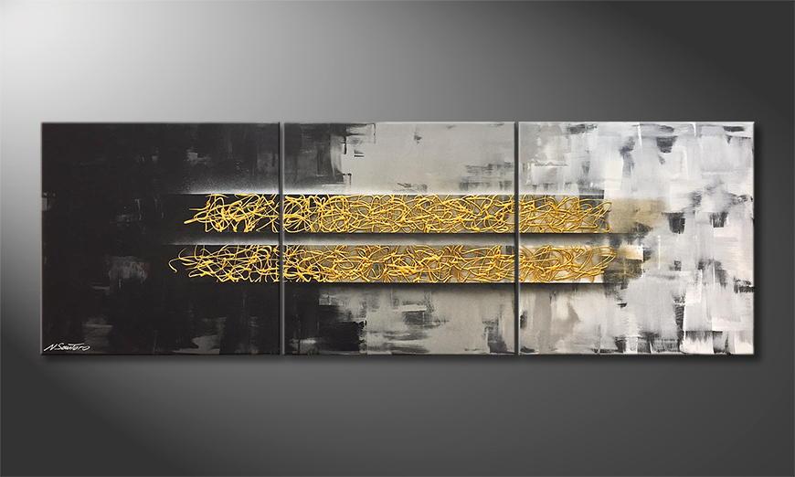 Handgemalt: Golden Harmony 210x70x2cm
