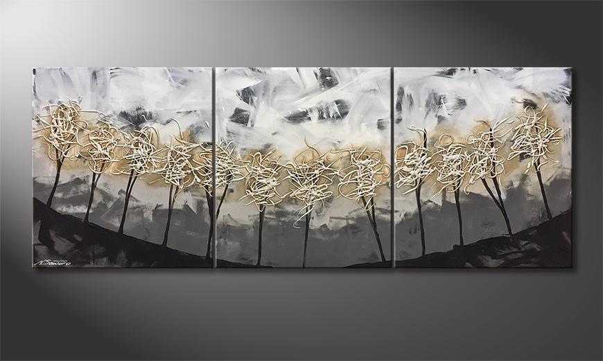 Handgemalt: Silver Trees 180x70x2cm