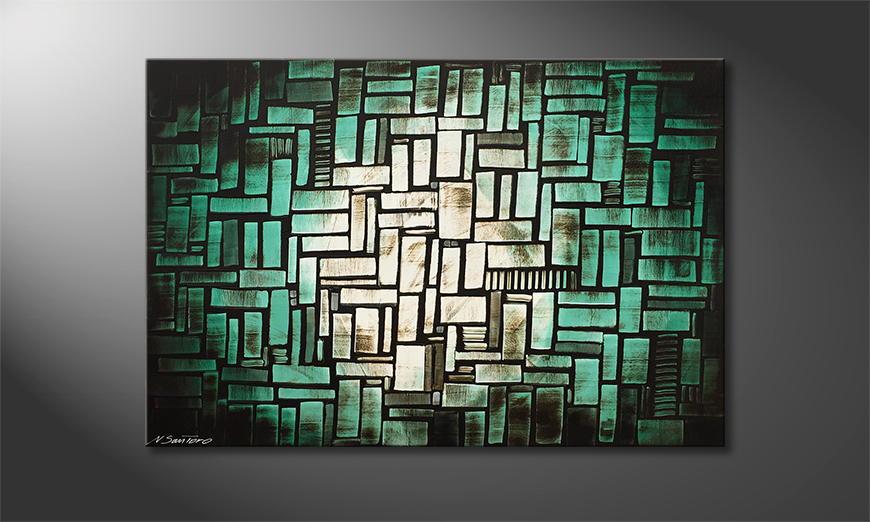Handgemalt: Turquoise Moon 120x80x2cm