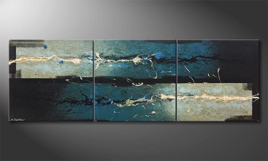 Handgemalt: Water Clash 210x70x2cm