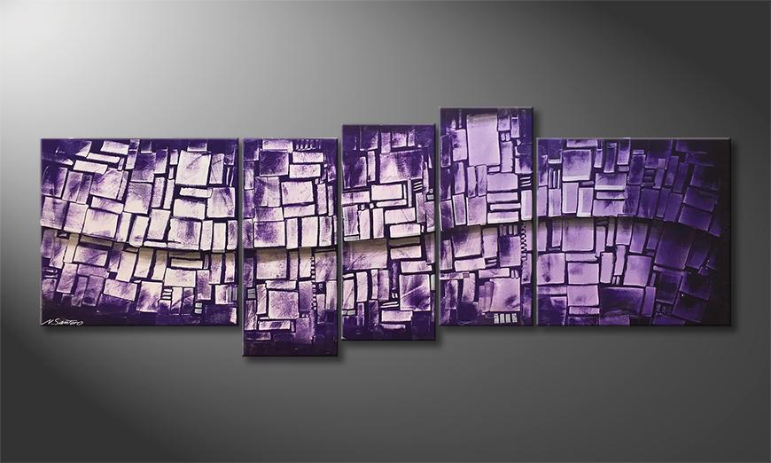 Handgemaltes Bild: Purple Stones 210x80x2cm