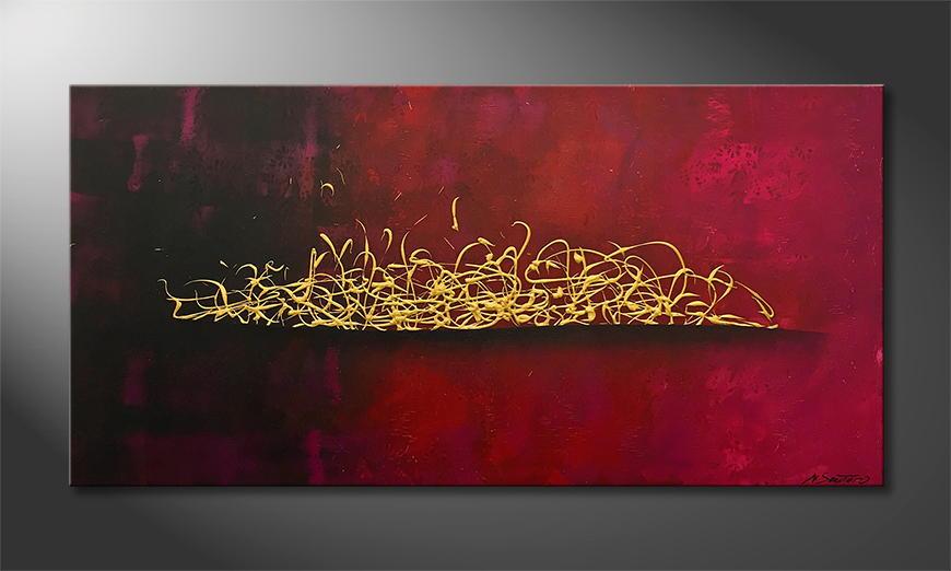 Handgemaltes Bild: Wild Gold 140x70x2cm