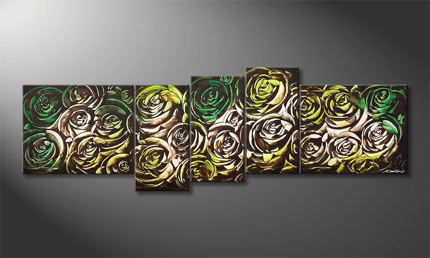 Unser Wandbild Green Roses 210x70x2cm