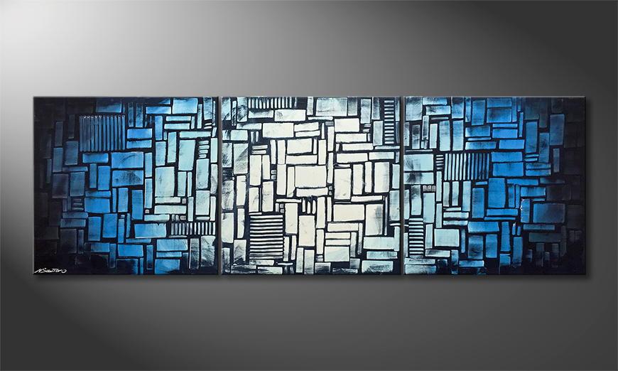 Von Hand gemalt: Cubic Waves 210x70x2cm