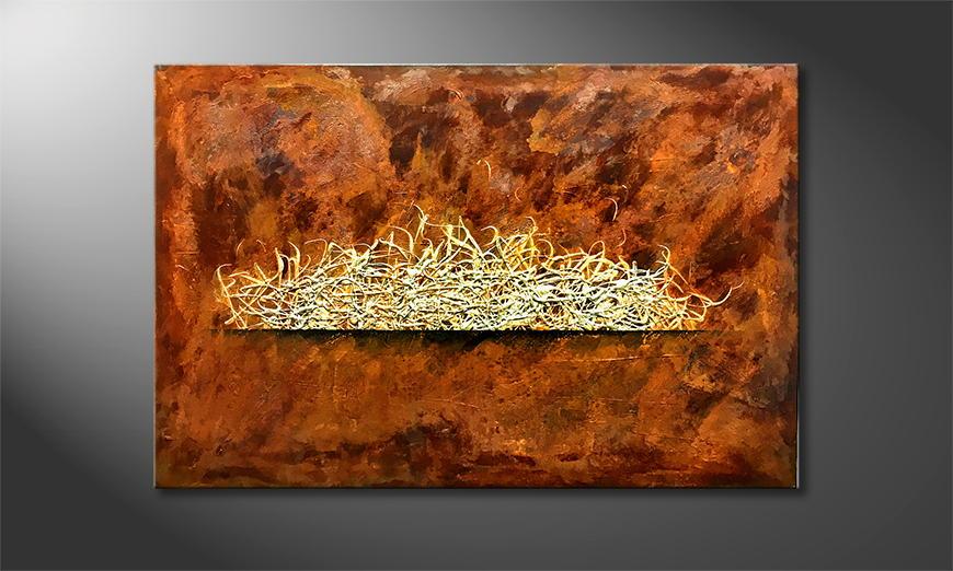 Von Hand gemalt: Rusty Fire 120x80x2cm
